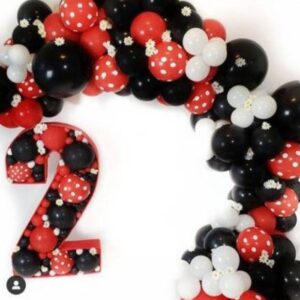 Set balloons maqueta Minnie numero (4ft) y 8ft garland