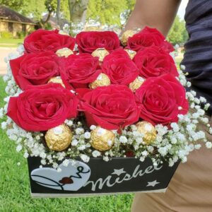Box of roses and chocolates with heart