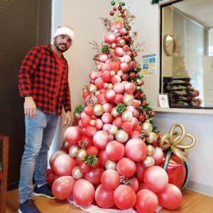 Navidad decoracion arbol globos